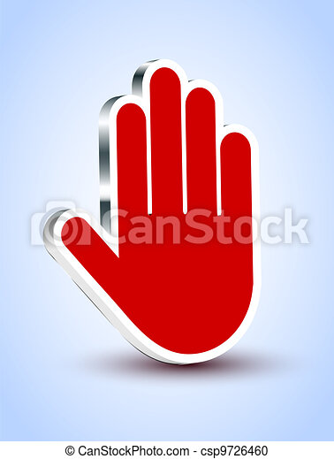 Vector red palm icon on blue background. Eps10 illustration - csp9726460