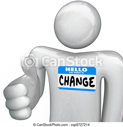 Nametag Hello My Name is Change Person Handshake - csp9727214