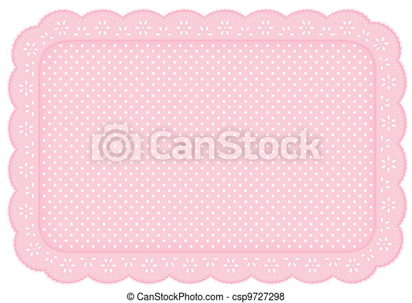 Place Mat Pink Polka Dot Lace Doily - csp9727298