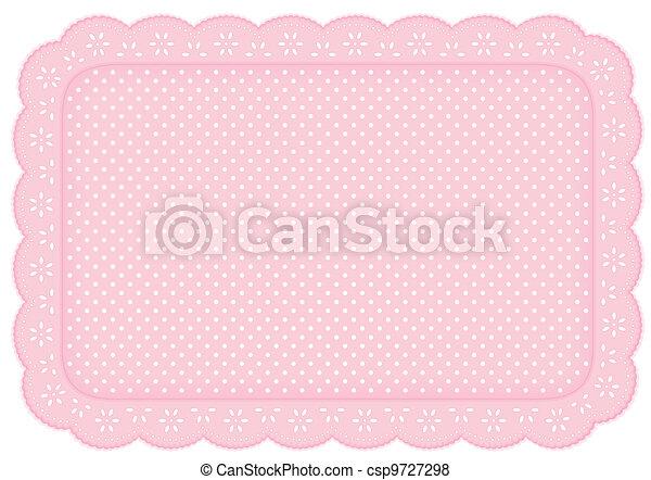 Place Mat Pink Polka Dot Lace Doily - csp9727298
