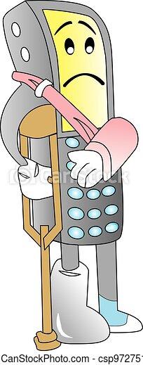 Damaged Cellphone, illustration - csp9727518