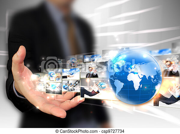 uomo affari, tecnologia, concetto, presa a terra, mondo - csp9727734