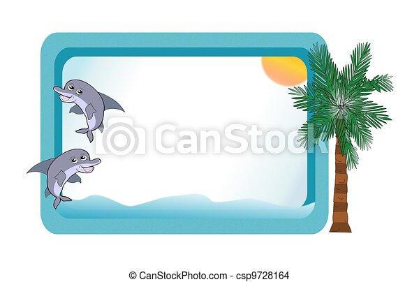 Blue Bulletin Board w/Ocean Scene - csp9728164