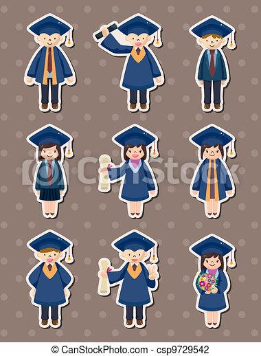 caricatura, graduado, estudiantes, Pegatinas - csp9729542