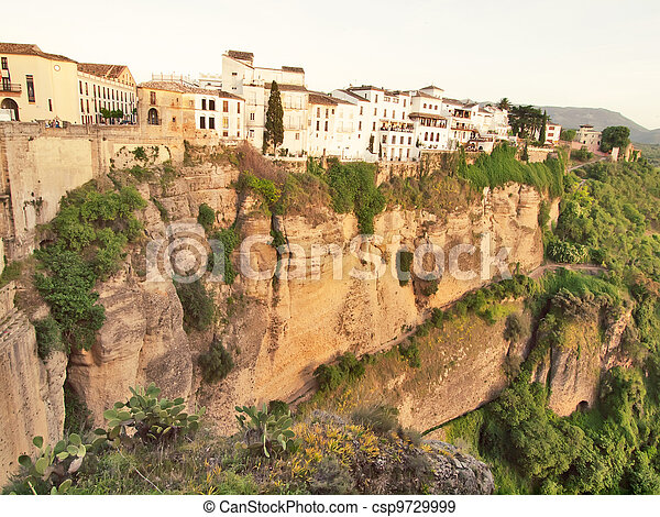 New bridge in Ronda, one of the famous white place in Andalucia, Spain - csp9729999