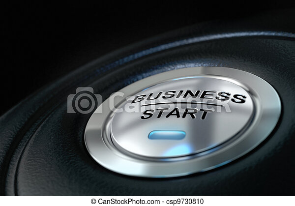 pushed business start button over black background, blue light, symbol of new businesses - csp9730810