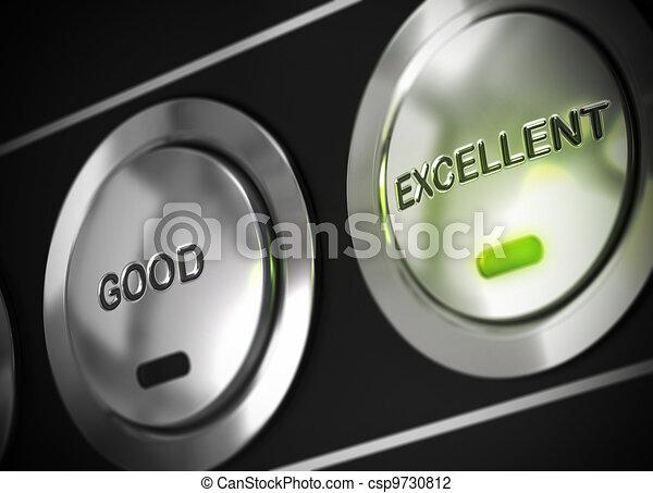 excelente, botón, apretado, luz, verde, Fue adelante, allí, también, bueno, botón, viewable, símbolo, excelencia - csp9730812
