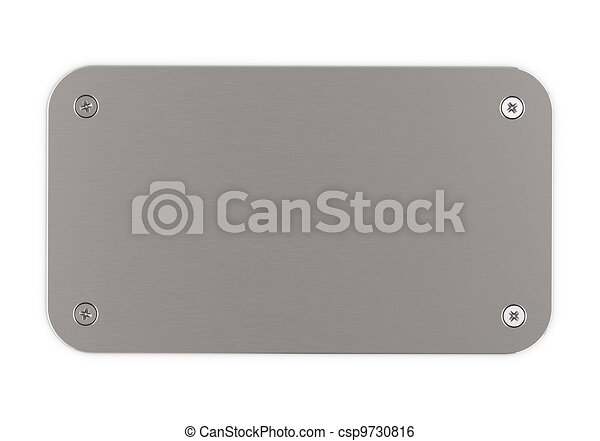 brushed aluminium plaque with round corners fitted with 4 screws onto a white wall, horizontal image. - csp9730816