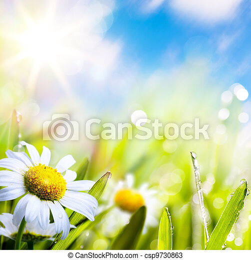 Été, fleur,  art, soleil, résumé, ciel, eau, fond, herbe, gouttes - csp9730863
