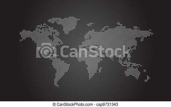 World Map Dotted - csp9731343