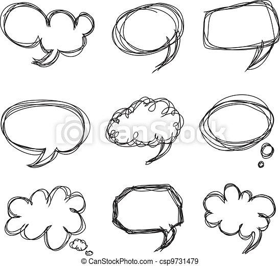 Hand drawing speech bubbles cartoon doodle - csp9731479