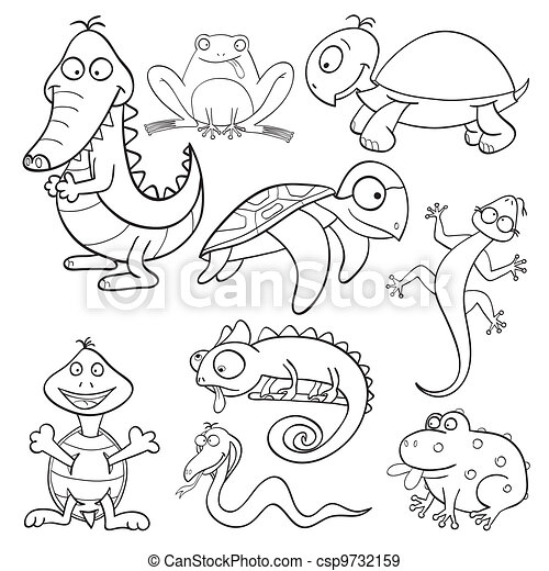 Coloring book with reptiles and amphibians - csp9732159