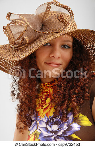 Frizzy girl in the hat wide-brimmed. - csp9732453
