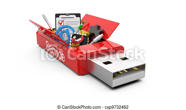 USB Flash drive with office tools and money - csp9732462