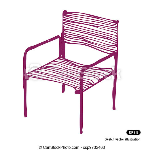 Vektoren von modern, Stuhl, Hand, gezeichnet, vektor, abbildung, auf ...