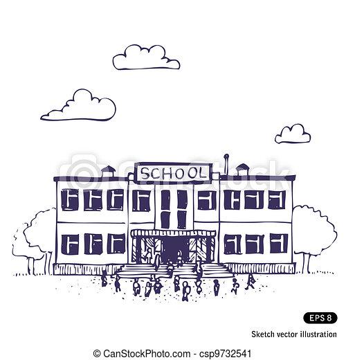 Art Building Drawings School Building Csp9732541