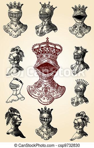 medieval helmets - csp9732830