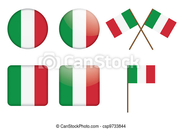 badges with Italian flag - csp9733844