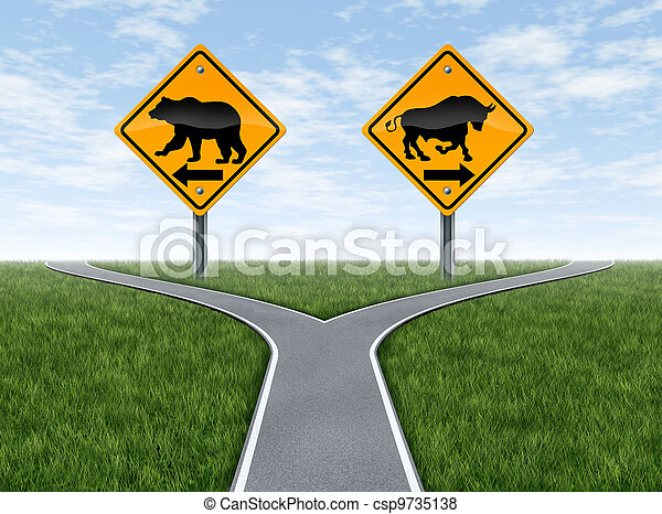 Stock Market crossroads With Bull and Bear Signs - csp9735138