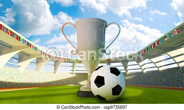 Cup and Soccer ball in the stadium - csp9735697