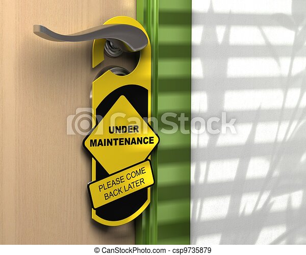 yellow and black hanger where it is written under maintenance please come back later hanged onto a door handle, concept for a website page under construction - csp9735879