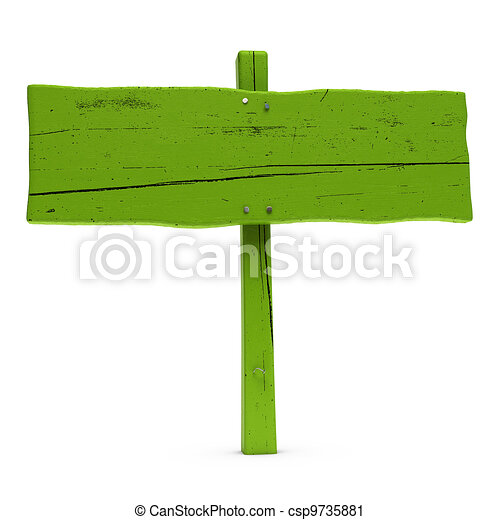 old horizontal wooden green sign over white background with nails - csp9735881