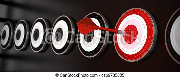 many targets over a black background with reflection, a red dart hit the center of one red target, horizontal banner style - csp9735885