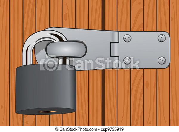 Closeup wood door with padlock - csp9735919