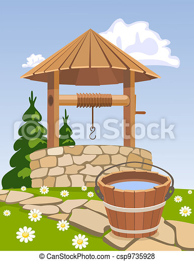 Old wooden well and bucket of water - csp9735928