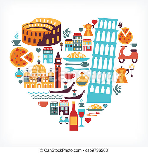 Italy love - heart shape with vector icons - csp9736208