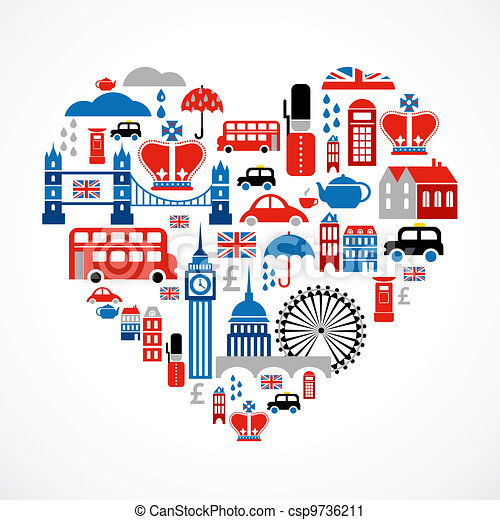 London love - heart with many vector icons - csp9736211