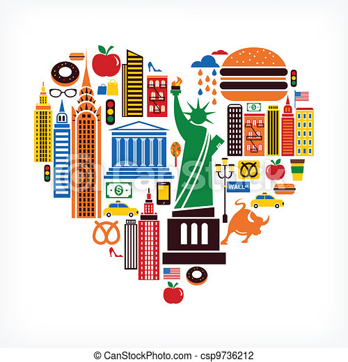 New York love - heart shape with many vector icons - csp9736212