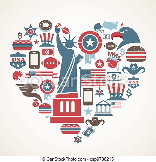 America love - heart shape with many vector icons - csp9736215