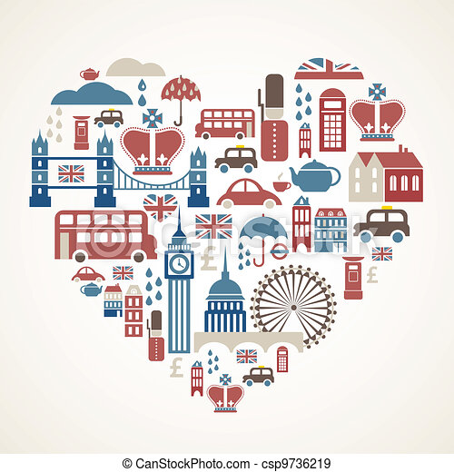 London love - heart with many vector icons - csp9736219