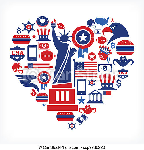 アメリカ, 愛, -, 心, 形, 多数, ベクトル,... csp9736220のベクタークリップアート ...
