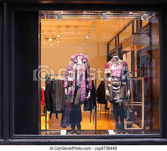 Boutique with dressed mannequins - csp9736448