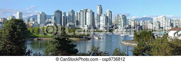 Vancouver BC skyline at False creek. - csp9736812