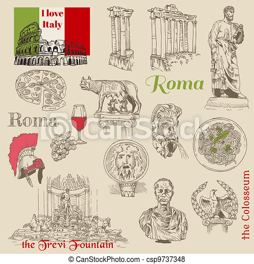 Set of Rome doodles - for design and scrapbook - hand drawn in vector - csp9737348