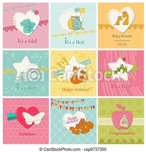 Set of Colorful Baby Cards  - for arrival, birthday, congratulation, invitation  in vector - csp9737350