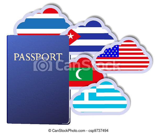 Vector concept of the passport and countries of the world in the form of clouds. Eps10 - csp9737494