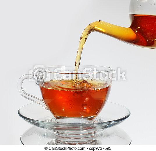 Pouring tea to a teacup - csp9737595