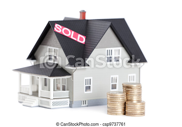 Stacks of coins in front of household architectural model - csp9737761