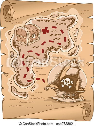 Parchment with treasure map 1 - csp9738021