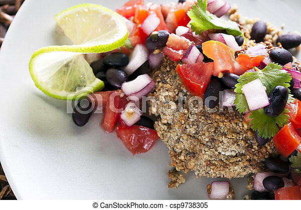 Black Bean Salsa Veggie Burger - csp9738305