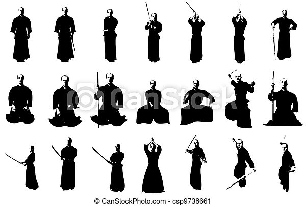 Kendo fighter silhouettes - csp9738661