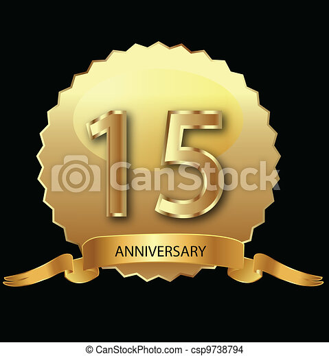 15th anniversary in gold seal  - csp9738794