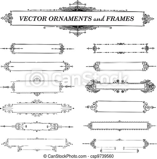 Vector Vintage Frame and Ornament Set - csp9739560