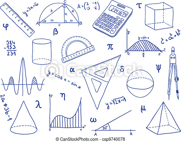 Mathematics - school supplies, geometric shapes and expressions - csp9740078