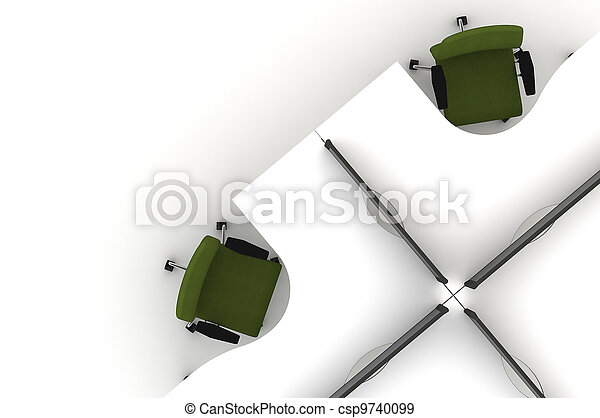 Workstation table-3d illustration  - csp9740099