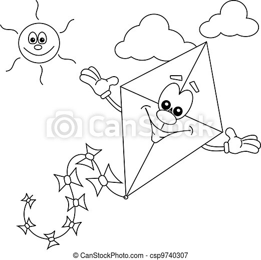 Cartoon kite outline for colouring in book csp9740307 - Search Clipart ...